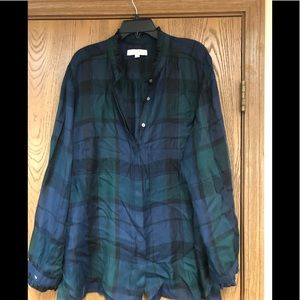 Loft green/navy plaid button down blouse